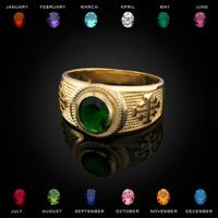 Gold Jerusalem Cross Birthstone CZ Ring