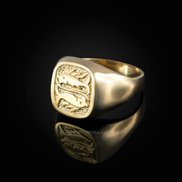 Yellow Gold Pisces Mens Zodiac Ring