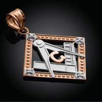 Two-Tone Rose Gold Square Diamond Masonic Pendant
