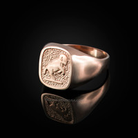 Rose Gold Aries Mens Zodiac Ring