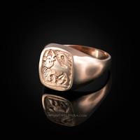 Rose Gold Taurus Mens Zodiac Ring
