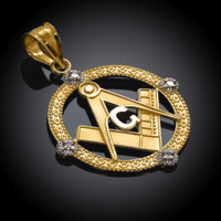 Yellow Gold Round Diamond Masonic Pendant