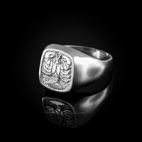 White Gold Cancer Mens Zodiac Ring
