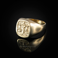Yellow Gold Libra Mens Zodiac Ring