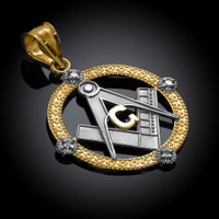 Two-Tone Gold Round Diamond Masonic Pendant