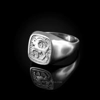 White Gold Capricorn Mens Zodiac Ring