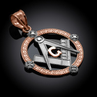 Two-Tone Rose Gold Round Diamond Masonic Pendant