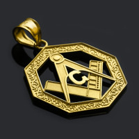 Yellow Gold Octagonal Masonic Bail Pendant