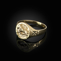 Yellow Gold Leo Satin DC Band Ladies Zodiac Ring