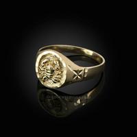 Yellow Gold Cancer Satin DC Band Ladies Zodiac Ring