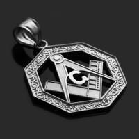 White Gold Octagonal Masonic Bail Pendant