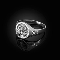 White Gold Cancer Satin DC Band Ladies Zodiac Ring