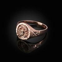 Rose Gold Cancer Satin DC Band Ladies Zodiac Ring
