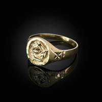 Yellow Gold Sagittarius Satin DC Band Ladies Zodiac Ring