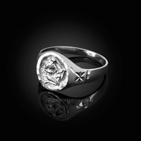 White Gold Sagittarius Satin DC Band Ladies Zodiac Ring