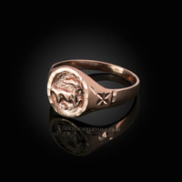 Rose Gold Capricorn Satin DC Band Ladies Zodiac Ring