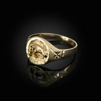 Yellow Gold Aries Satin DC Band Ladies Zodiac Ring