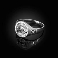 White Gold Aries Satin DC Band Ladies Zodiac Ring