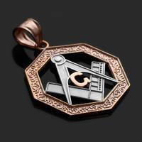 Two-Tone Rose Gold Octagonal Masonic Pendant