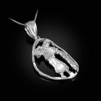 White Gold Aquarius Zodiac Sign DC Pendant Necklace