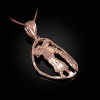 Rose Gold Aquarius Zodiac Sign DC Pendant Necklace