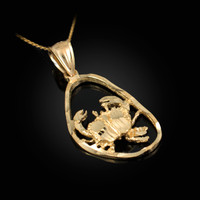 Gold Cancer Zodiac Sign DC Pendant Necklace