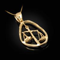 Gold Libra Zodiac Sign DC Pendant Necklace