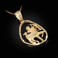 Gold Sagittarius Zodiac Sign DC Pendant Necklace