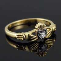 Dainty Gold Claddagh Promise Ring with Diamond