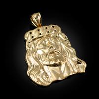 Yellow Gold Jesus Face Cuban Link Crown Pendant
