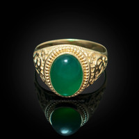 Gold Om Green Onyx Oval Gemstone Mens Ring