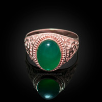 Rose Gold Om Green Onyx Oval Gemstone Mens Ring
