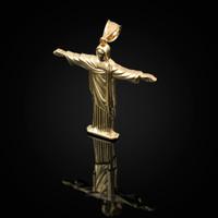 Polished Yellow Gold Jesus Christ The Redeemer Cross Brazil Rio Statue Pendant
