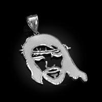 White Gold Jesus Face DC Pendant (S/M/L)