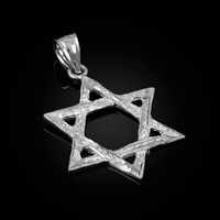 White Gold Jewish Star of David DC Pendant