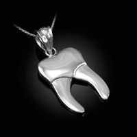 Polished White Gold Molar Tooth Dental Charm Necklace