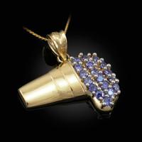 Polished Gold Lean Purple Drank CZ Pendant Necklace