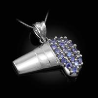 Polished White Gold Lean Purple Drank CZ Pendant Necklace