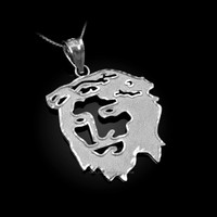 White Gold  Jesus Face DC Charm Necklace.