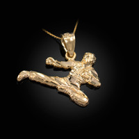 Yellow Gold Karate Kick DC Charm Necklace