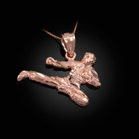 Rose Gold Karate Kick DC Charm Necklace