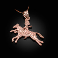 Solid Rose Gold Indian Chief Horse Rider Pendant Necklace
