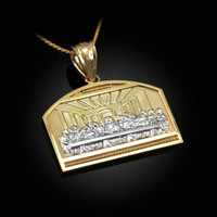 Two-Tone Gold Last Supper Pendant Necklace