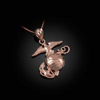 Rose Gold US Marine Corps Womens Charm Necklace