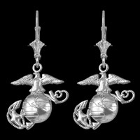 14K White Gold US Marine Corps Leverback Earrings