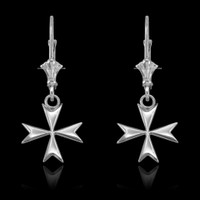 14K White Gold Maltese Cross Earrings