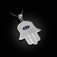 White Gold Hamsa Blue CZ Evil Eye Pendant Necklace