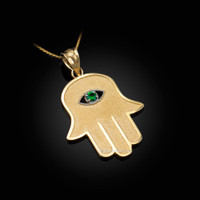 Yellow Gold Hamsa Green CZ Evil Eye Pendant Necklace