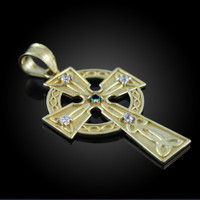 Gold Celtic Trinity Diamond Cross Pendant with Emerald