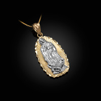 Two-Tone Yellow & White Gold Guadalupe DC Pendant Necklace